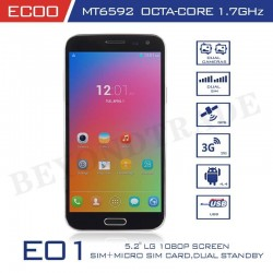 ECOO Brand Focus E-01 Octa Core Android Phone MTK6592 1G RAM 8G ROM with 5.2'' OGS Screen 8MP Camera Original Phone