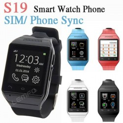 1.54 inch Smart Watch Phone S19 Phones Sync/ SIM Support Camera GSM FM TF for Samsung Huawei Android