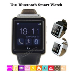 Bluetooth Smart Watch Smartwatch U10 Passometer Sleep Tracker Leather Handsfree For iPhone 6 5 5S Samsung S5 Note 4 HTC New 2015