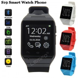 "S19 Smart Watch Phone Smart Wrist Watch Cell Phone Bluetooth SmartWatch 1.54"" 2MP Camera TF GSM FM Sync Handsfree"