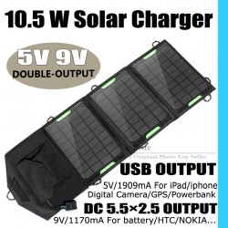 10.5 W High efficiency outdoor Folding solar charger bag 5V 9V solar panel charger For Power Bank MP3