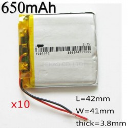 10 x pcs 3.7V 650mah 384142 Polymer Li-Po Rechargeable Battery For Mp3 MP4 GPS bluetooth ebooks power bank DIY DVD Tablet PC MID