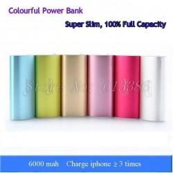 100% Full Capacity Super Slim Colorful 6000 mah Aluminum Power Bank,
