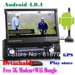 1 Din Car Radio Car DVD MP3 Player 7 inch Android 4.0.4 with GPS Bluetooth 3G IPOD USB SD TV +3G Modem 8300A
