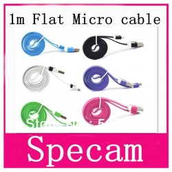 1 metre Flat type mixed color micro usb cable/charger cable/data sync cable for Samsung Galaxy i9300/blackberry/HTC/LG/Motorola
