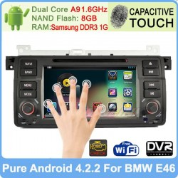 "1 Din Pure Android 4.2.2 7"" Capacitive Screen Dual-Core Car DVD GPS PC For BMW E46 M3 Built-in DVR Support OBD +Canbus"