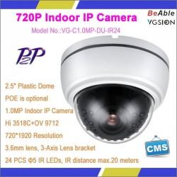 1.0 MP Plastic Dome ip camera