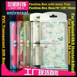 100pcs Universal Cellphone Holster Shell Case Packing Box+Inner Tray PVC Retail Packaging For iphone4/4S/5 For Samsung S4