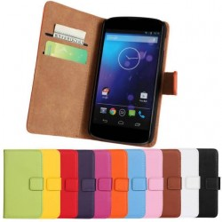 11 Color Luxury Wallet Stand Leather Case Cover For LG Nexus 4 E960 Phone Cases With Stand & Credit Card Holders