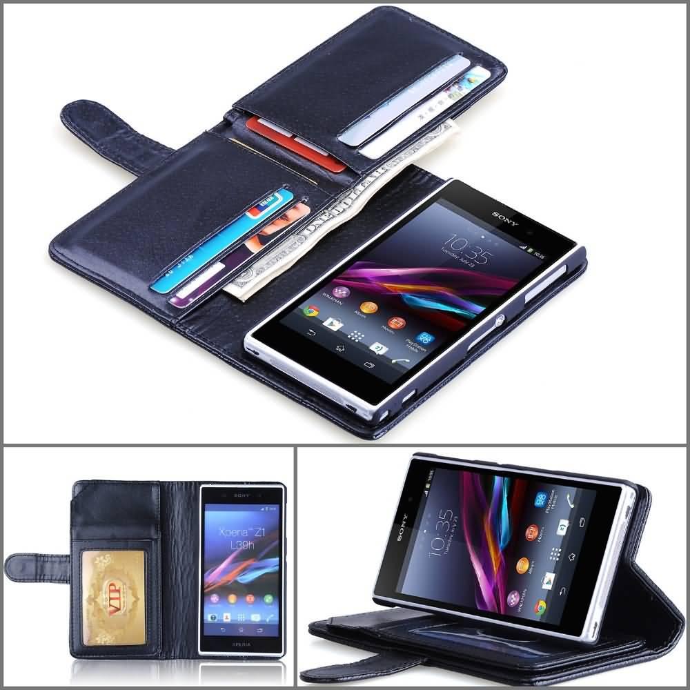 Sony Xperia sony xperia z1 phone cases : z1-wallet-pu-leather-phone-case-for-sony-xperia-z1-l39h-case-stand ...